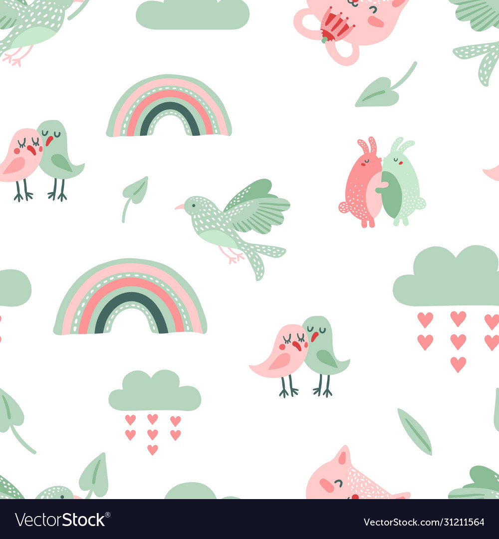 Cute animal pattern dove birds and cat rainbow