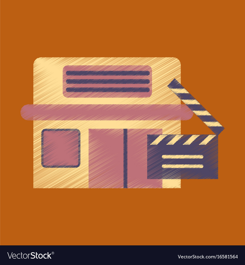Flat icon in shading style building cinema