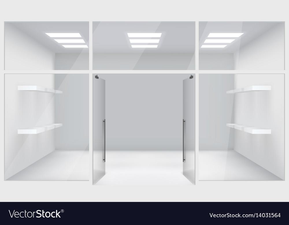 Front store shop 3d realistic space open doors