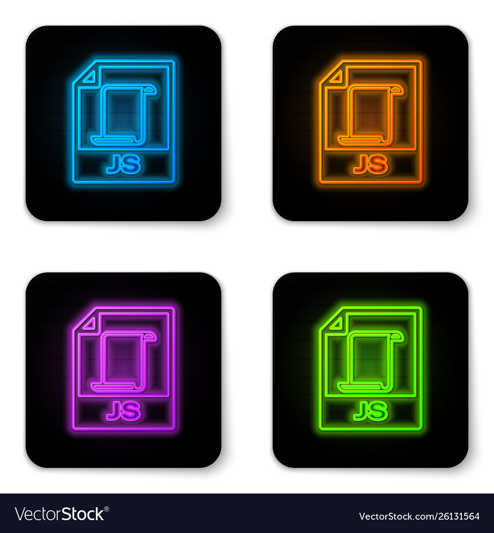 Glowing neon js file document icon download js