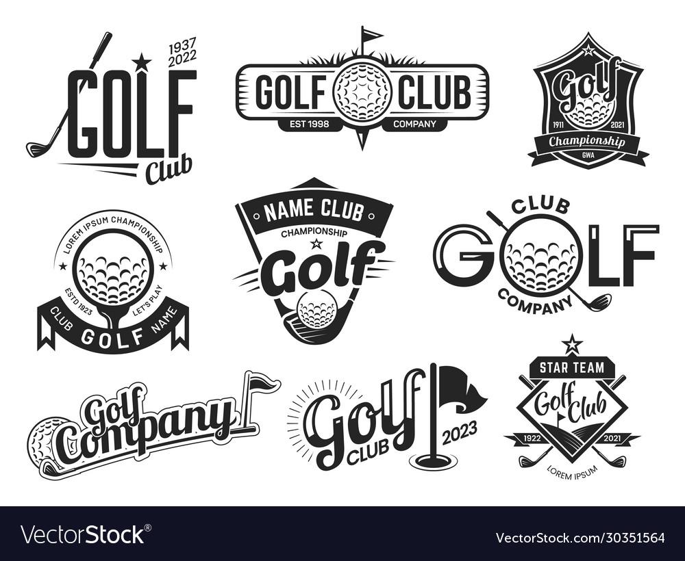 Golf sport club labels team championship signs