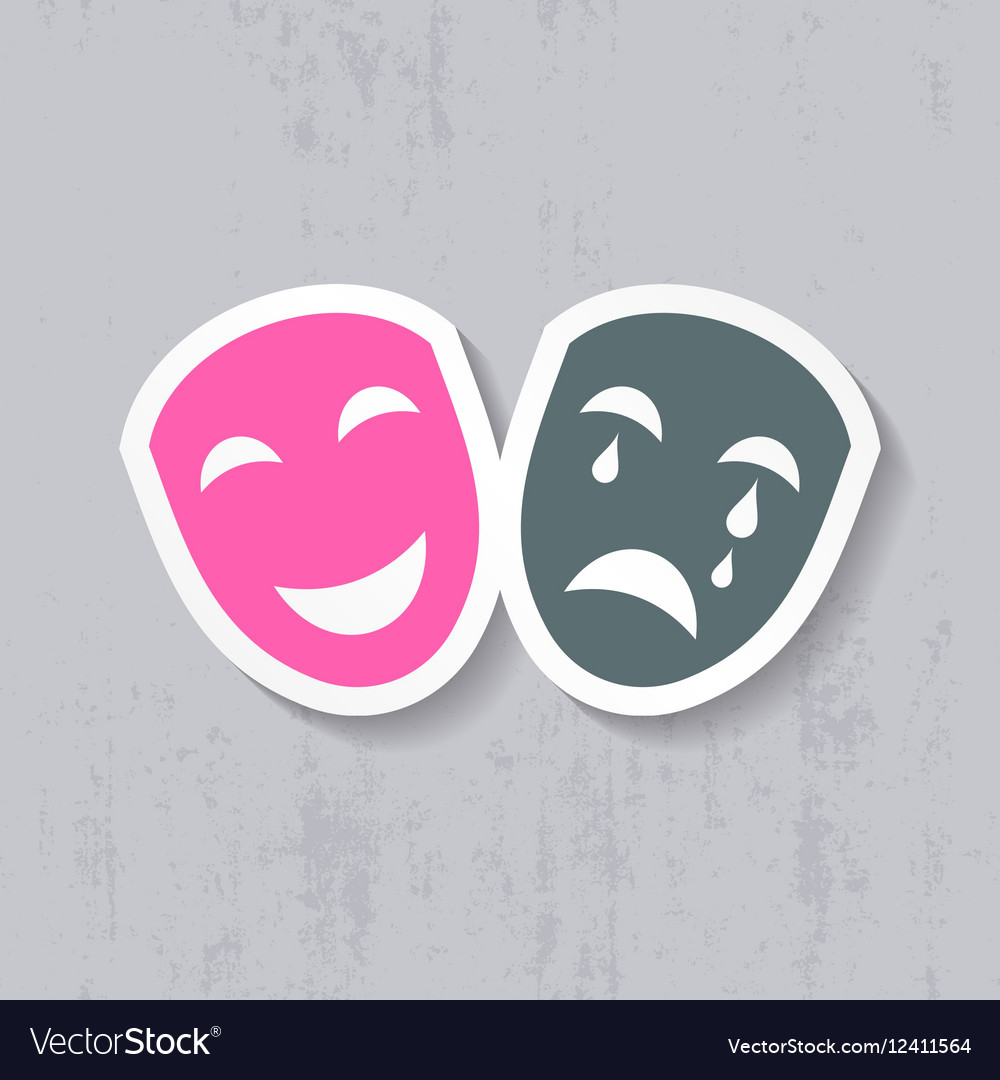Happy and sad theatrical masks vector image