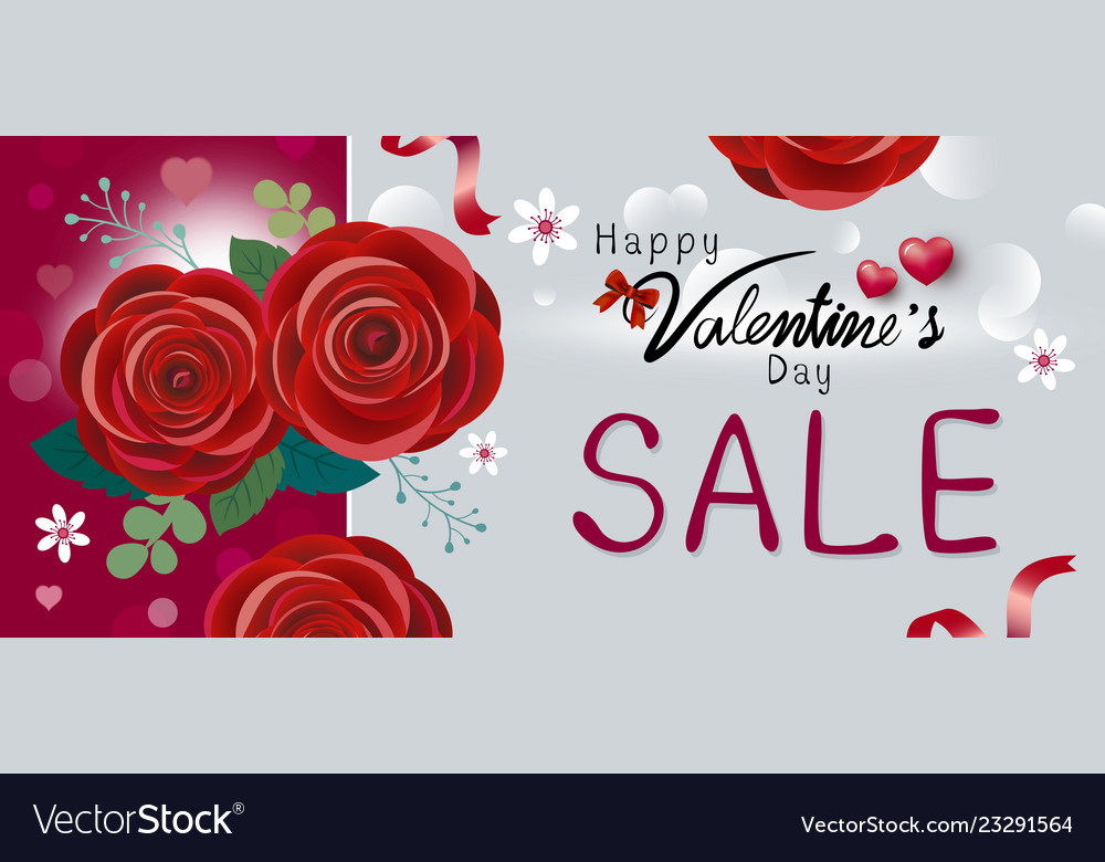 Happy valentines day sale design of red rose