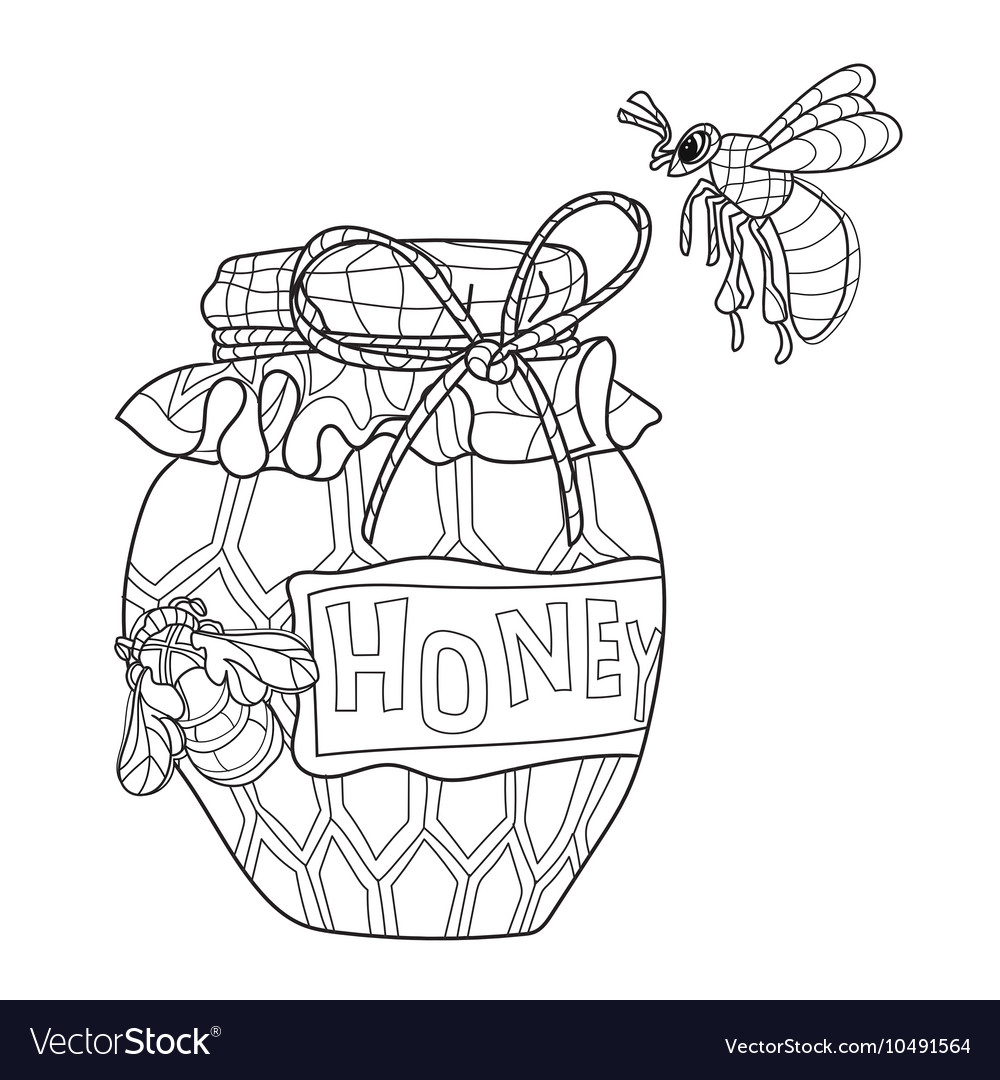 Honey pot doodle and bees vector image