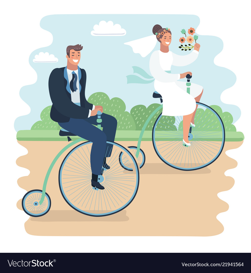 Just married on bycicle