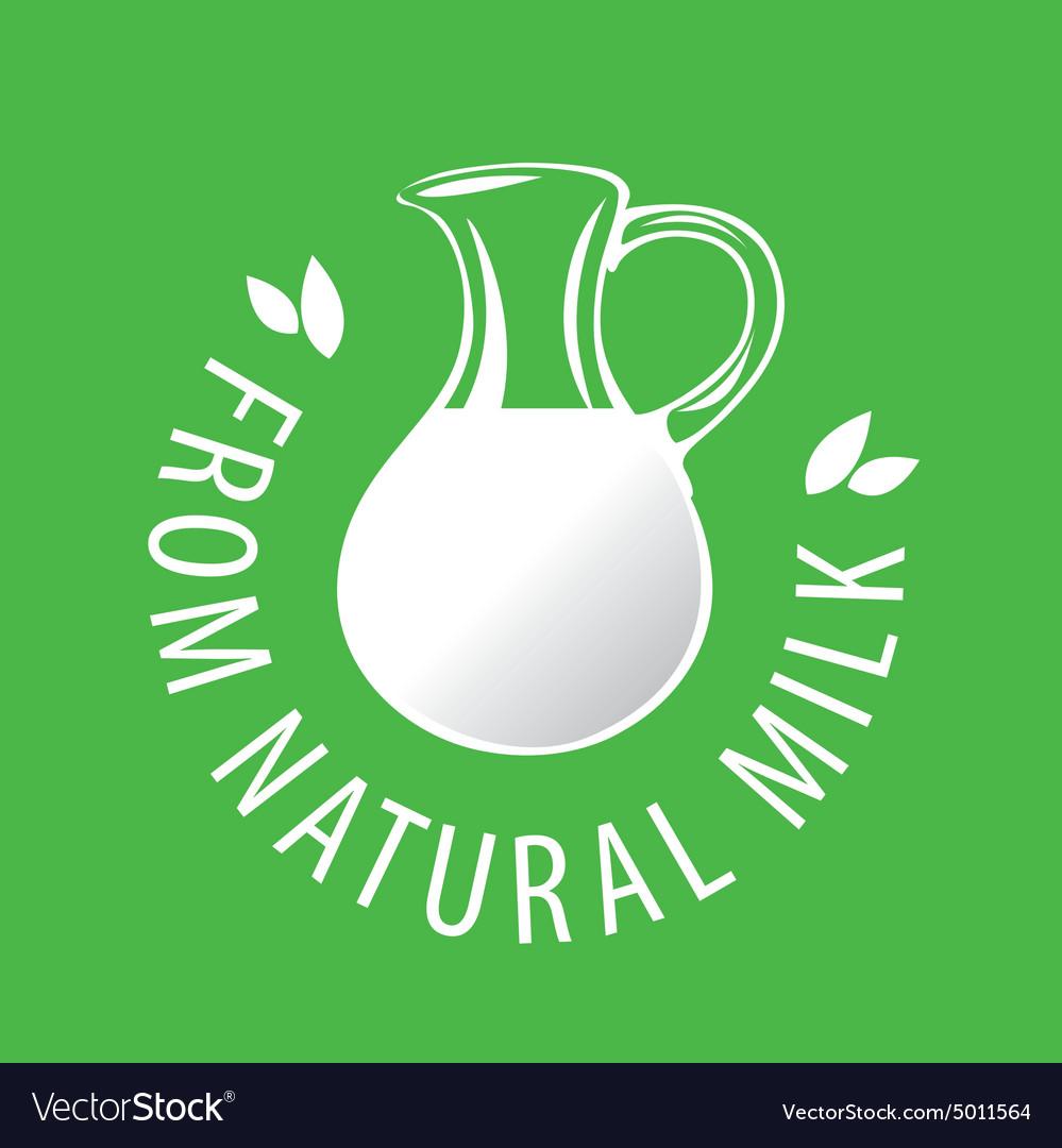 Logo glass jug with milk vector image