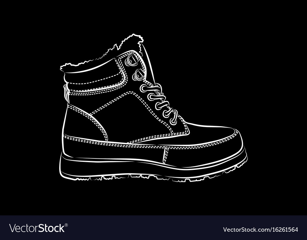 Men winter boots on black background
