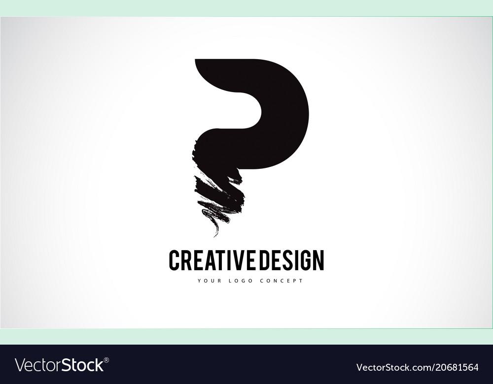 P Letter Logo Design Brush Paint Stroke Artistic Vector Image