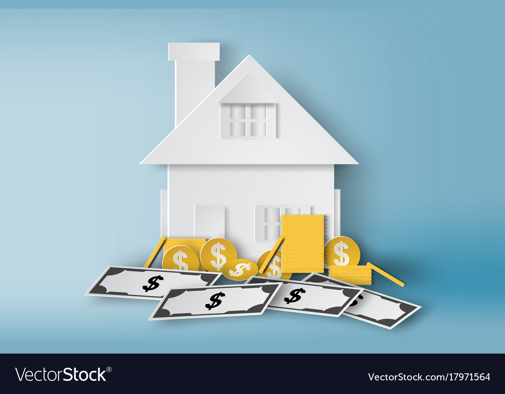 Paper art of home with pile of money and real