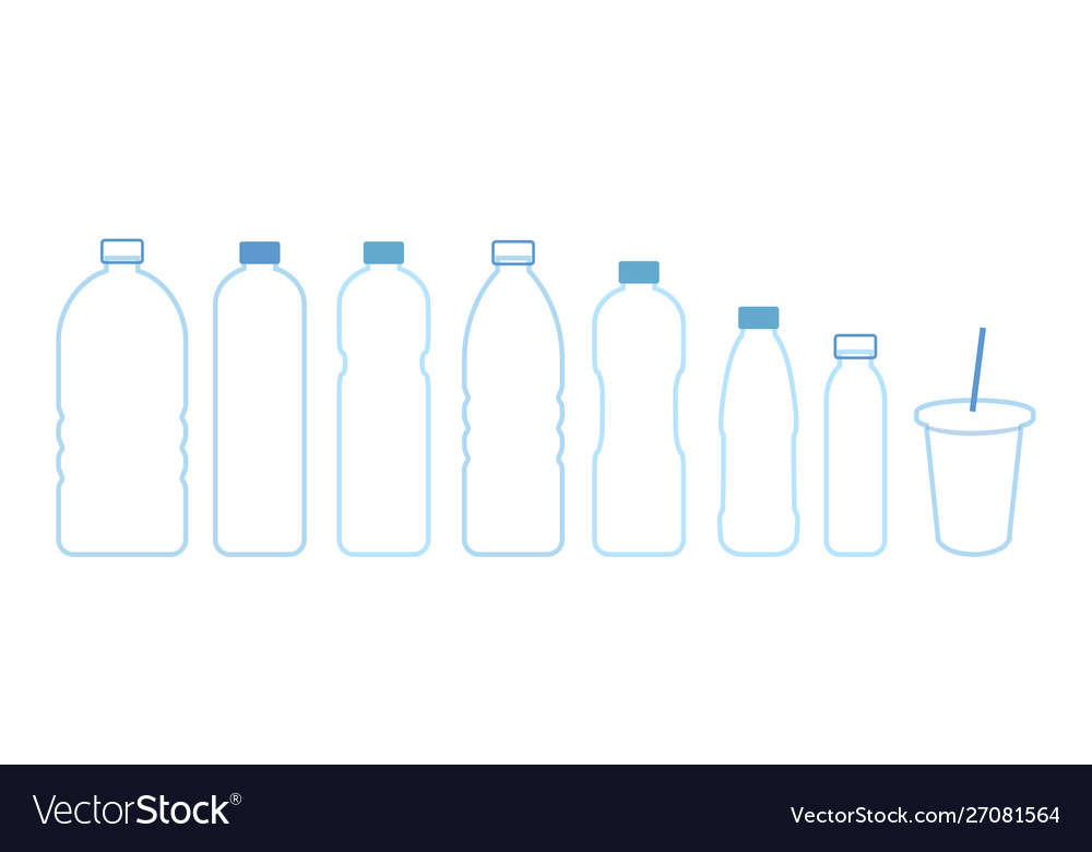 Set bottles water icon outline blue