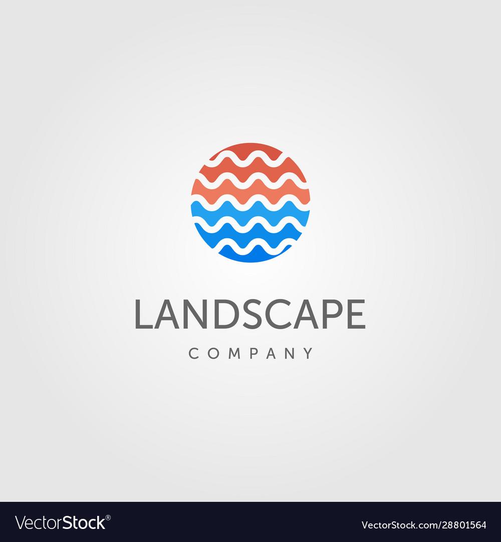 Water wave symbol for river landscape logo label
