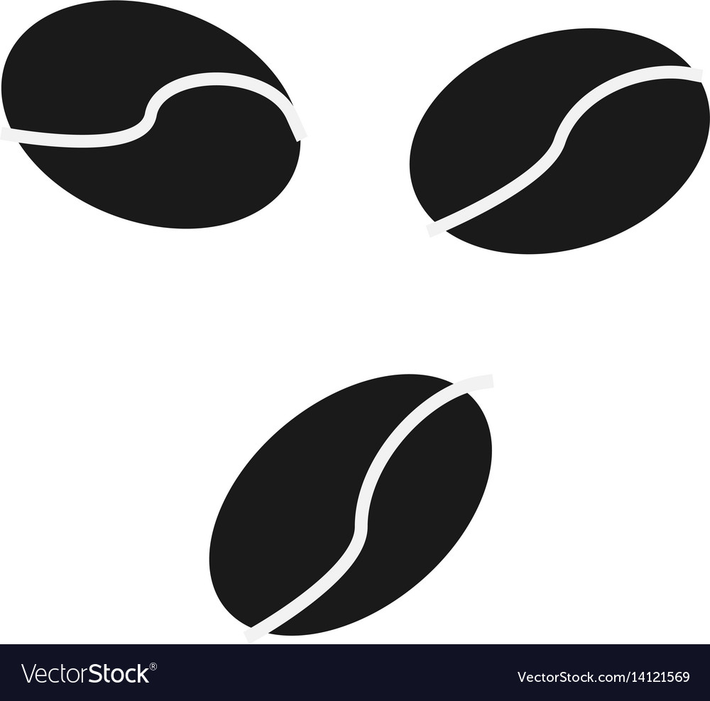 Coffee beans icon simple flat logo of coffee