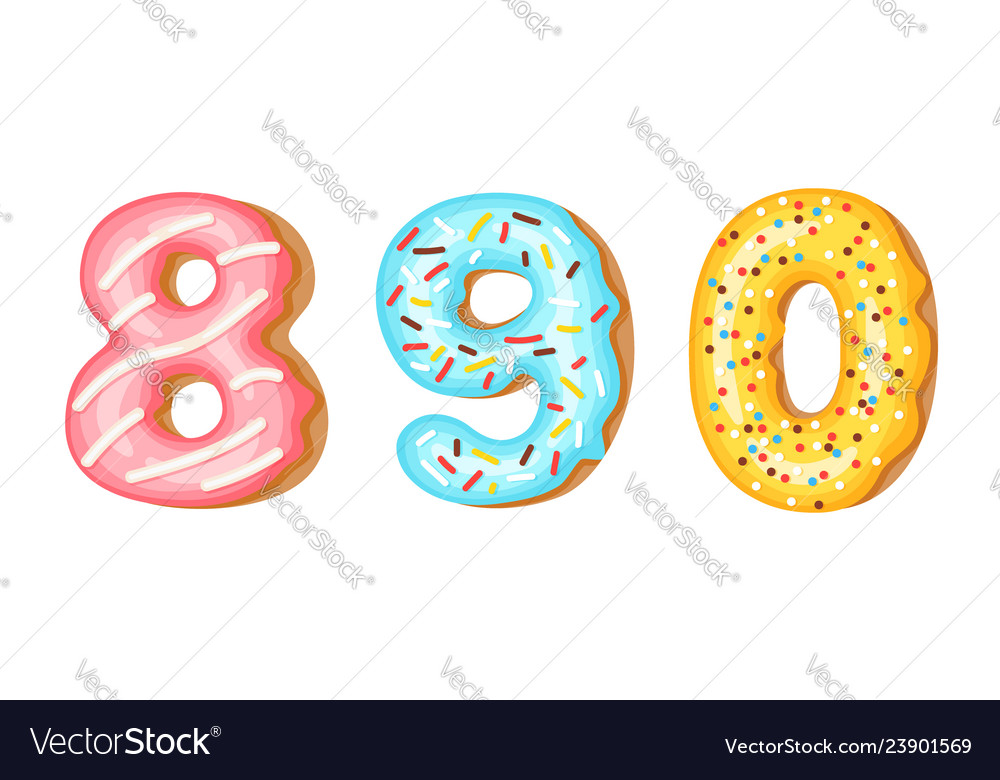 Donut icing numbers digits - 8 9 0 font of