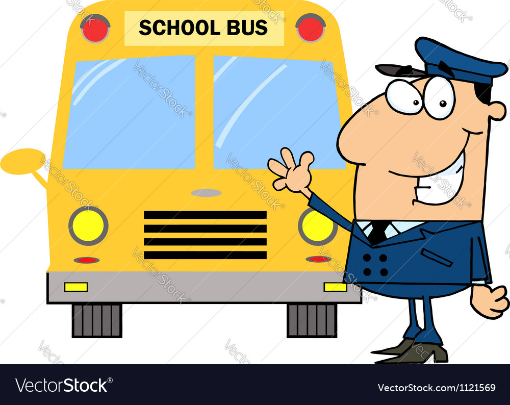 Driver Waving In Front Of School Bus Royalty Free Vector