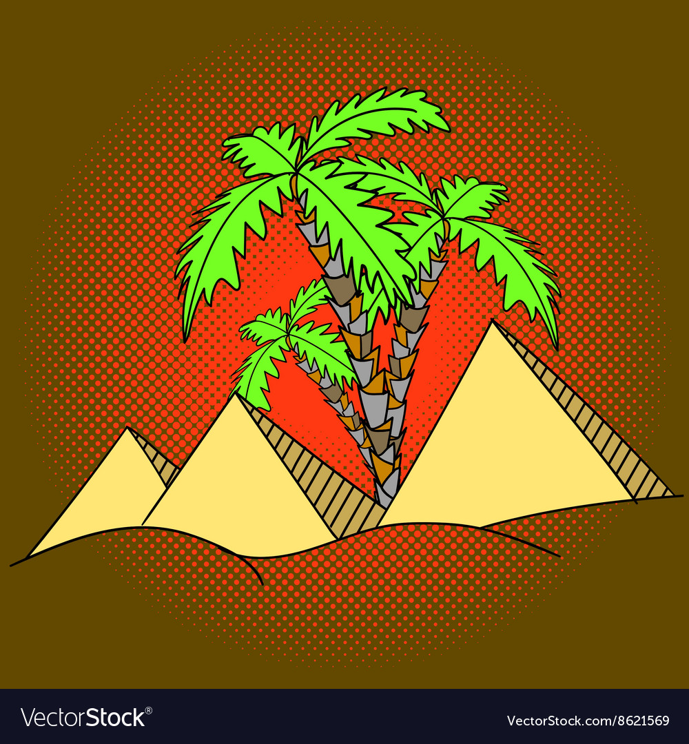 Egypt pyramids and palm trees pop art