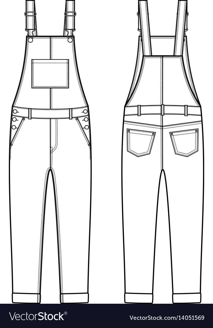 a94de0021895 Jean overalls front and back Royalty Free Vector Image