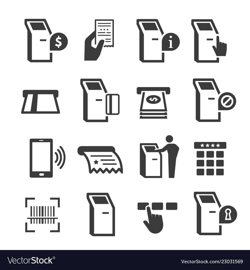 Kiosk terminal with interactive display icon set