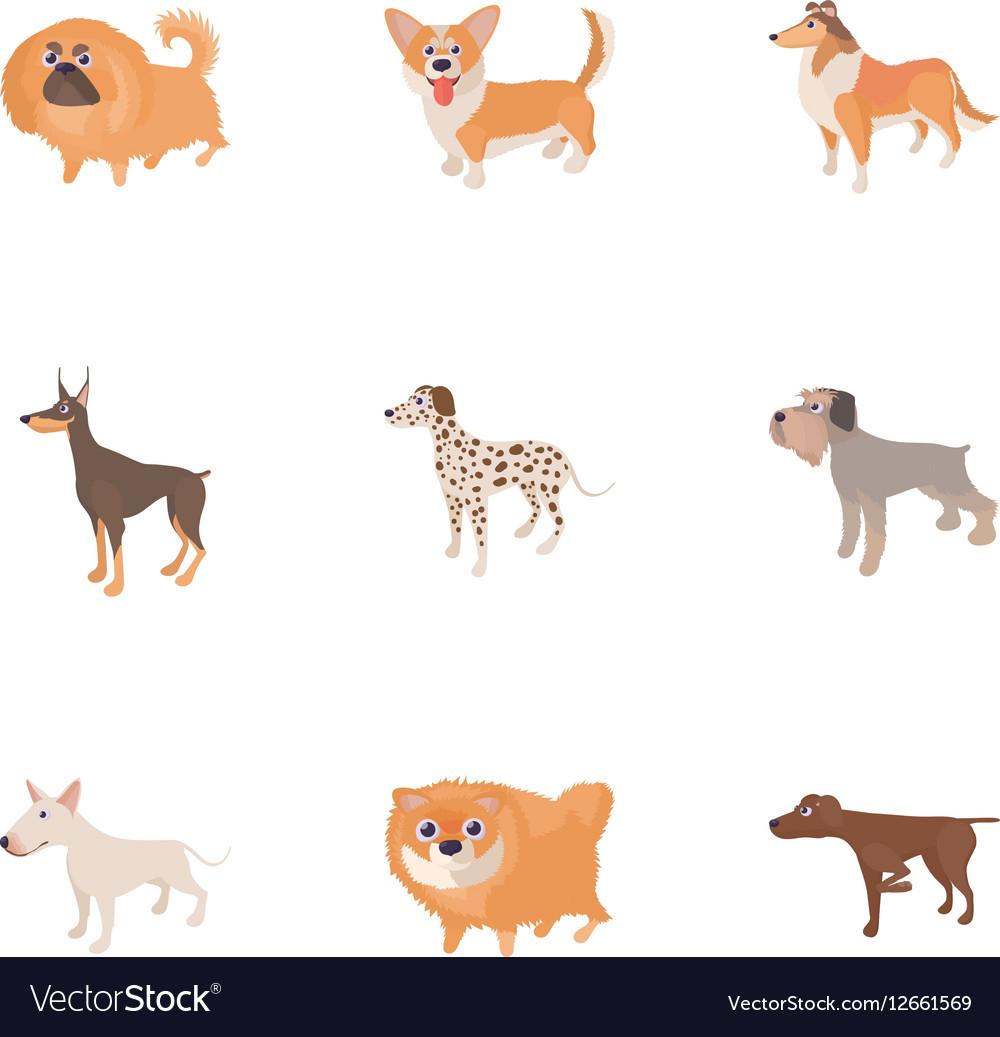 Pet dog icons set cartoon style