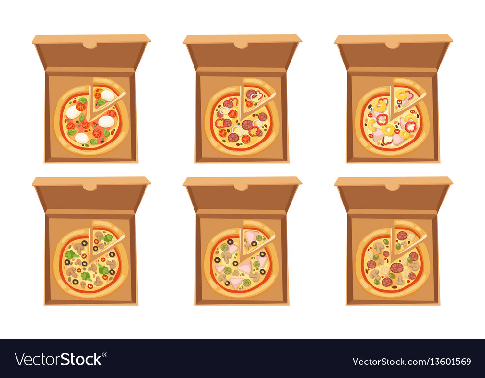 Pizza box cardboard carton vector image