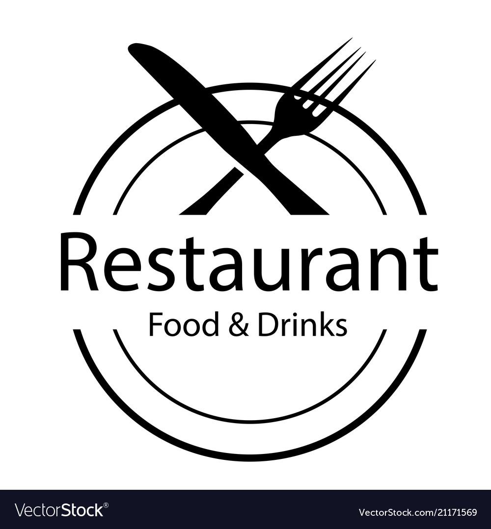 Restaurant food drinks logo fork and knife backg