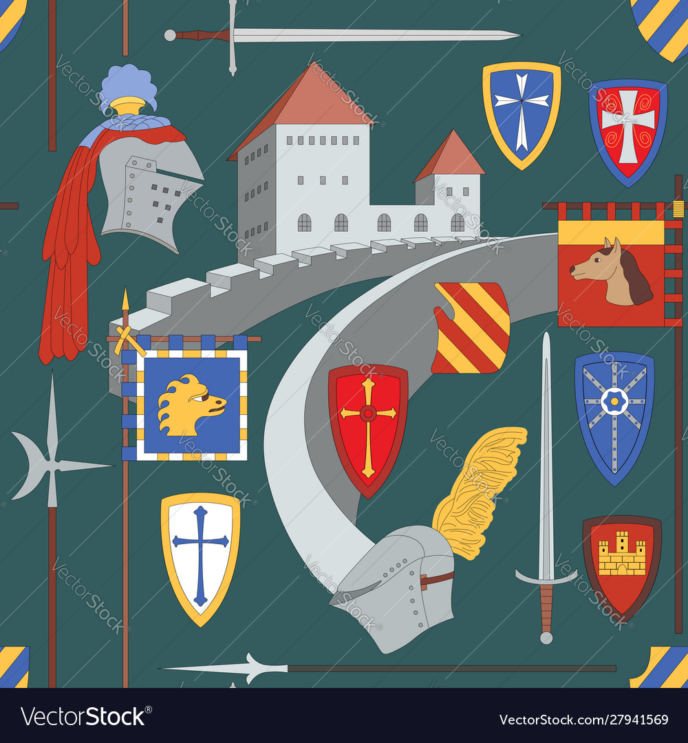Seamless medieval pattern with castle knight