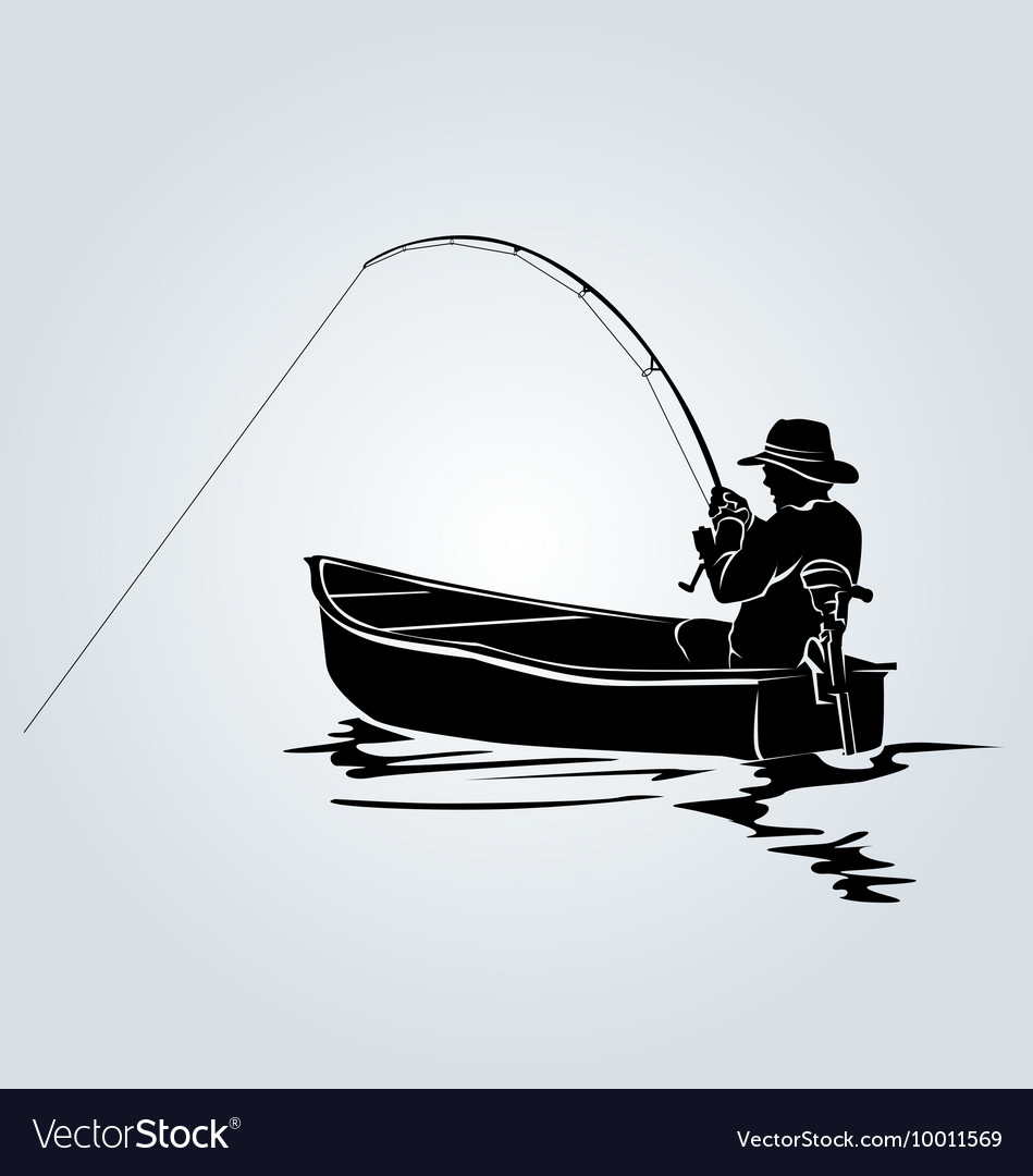 Silhouette of a fisherman in a boat vector image