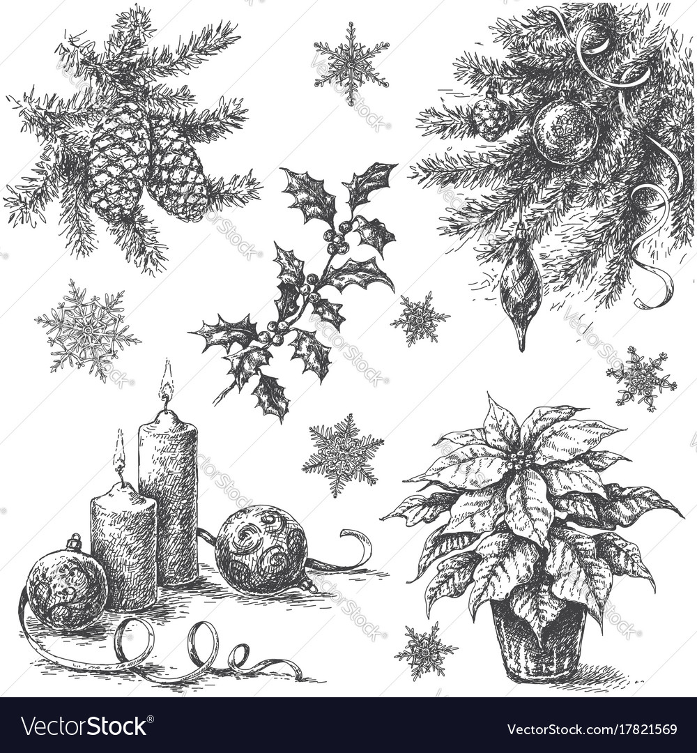 Drawings Of Christmas Decorations.Sketch Of Christmas Decorations