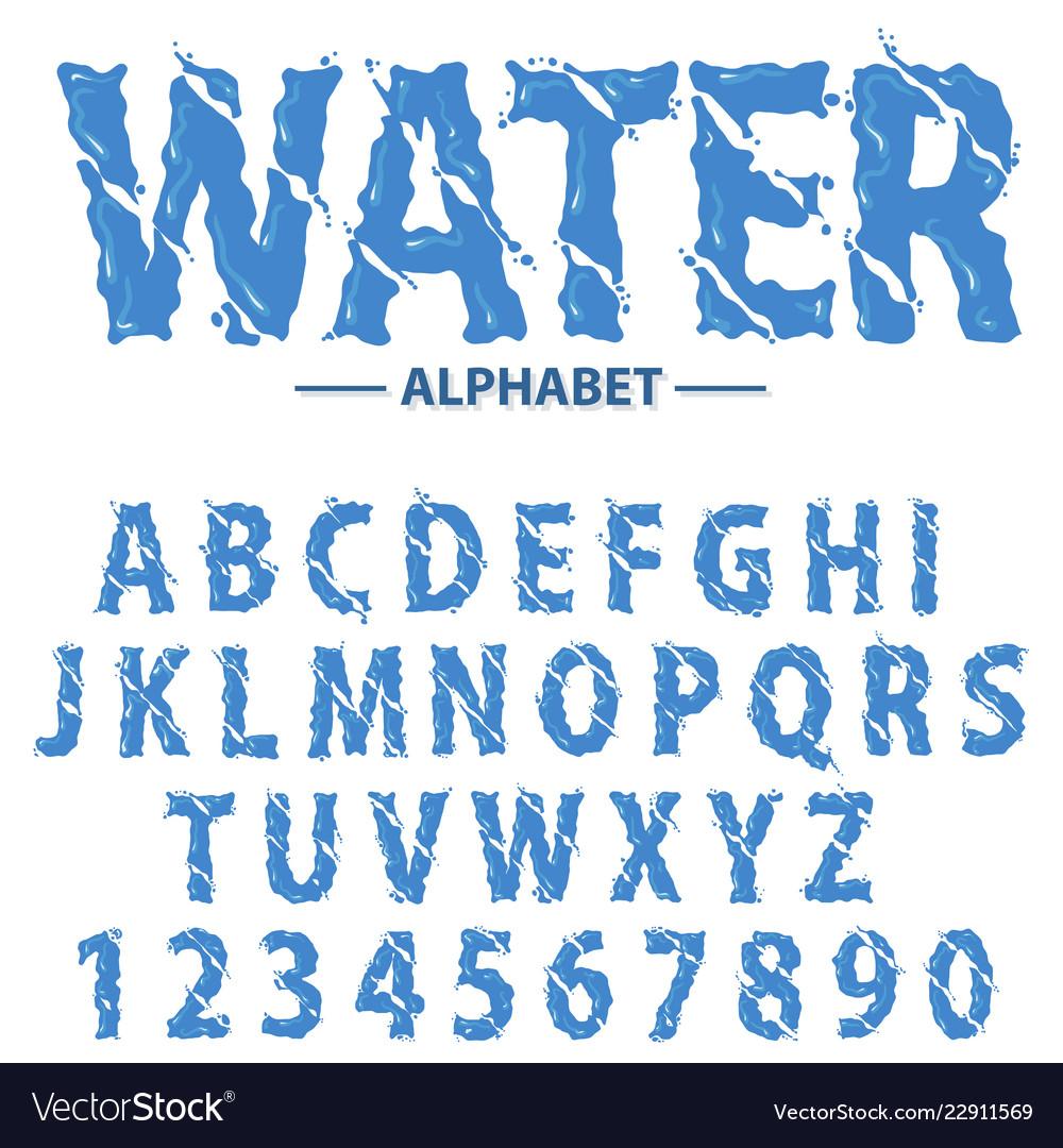 Water drops alphabet modern futuristic splash