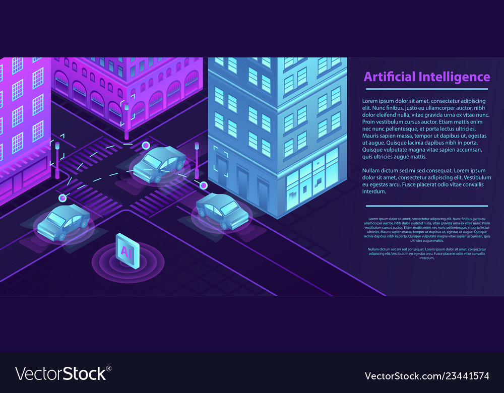 Artificial city intelligence banner isometric