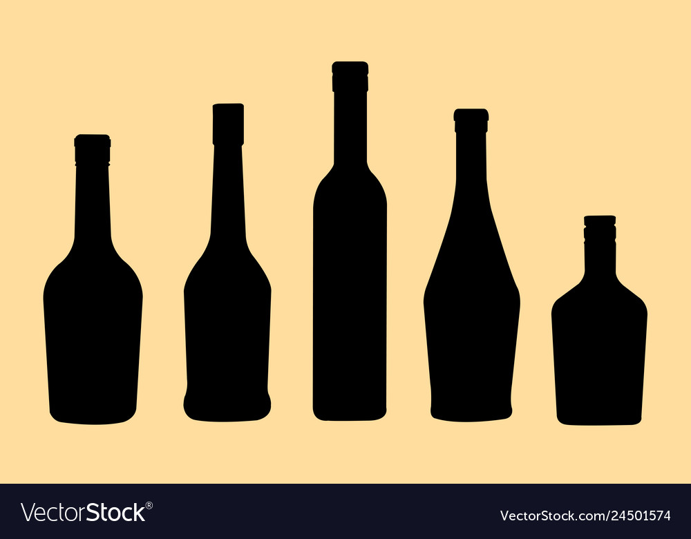 Brandy bottles silhouette