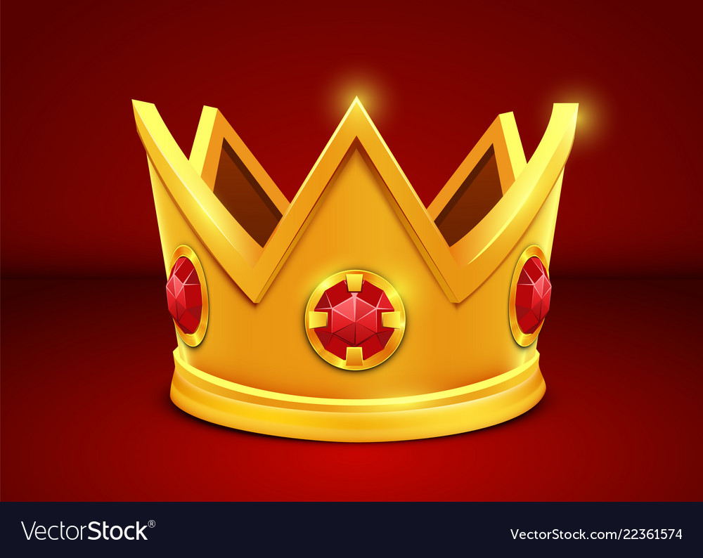 Bright golden crown on white background