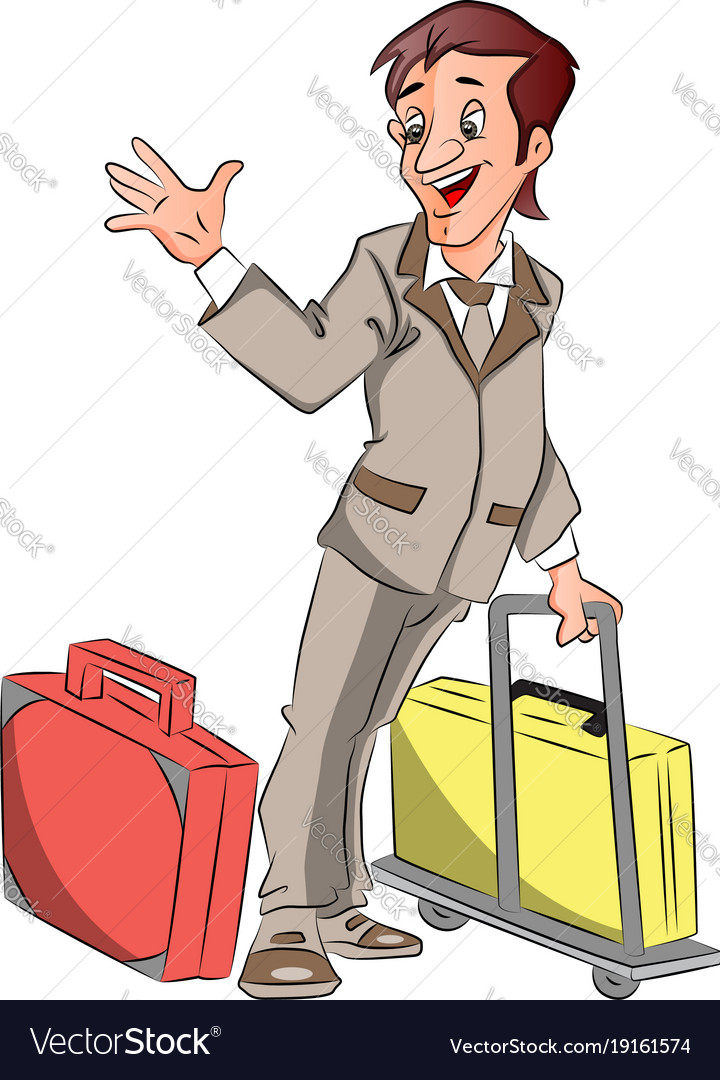 Businessman with luggage waving goodbye vector image