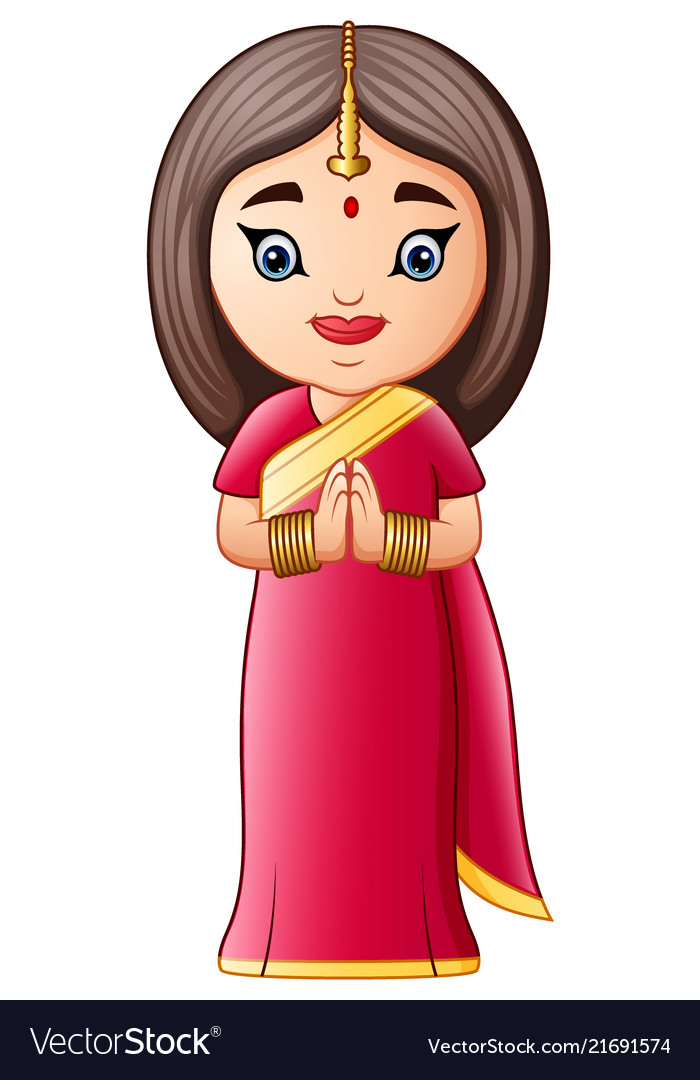 Cartoon indian woman wearing traditional costumes