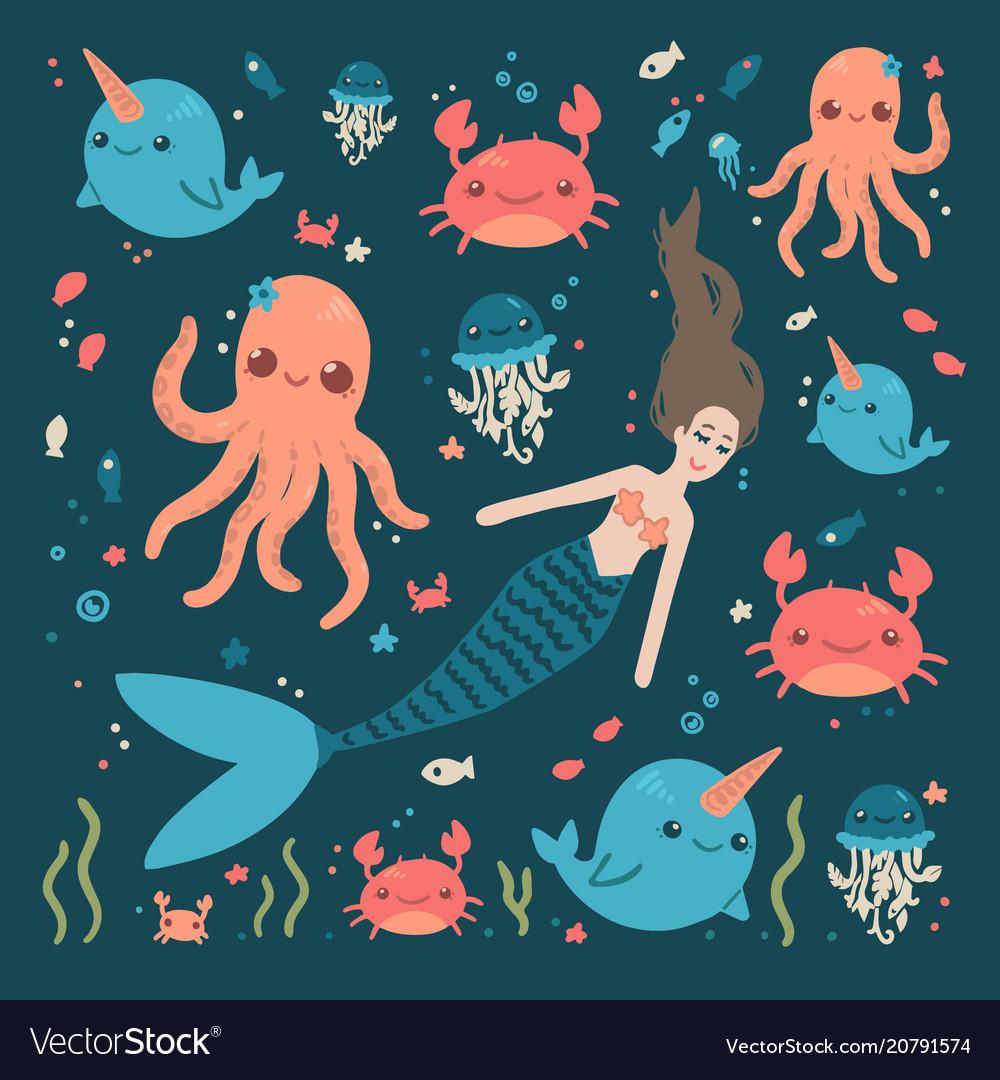 Cute sea characters mermaid crab fish octopus
