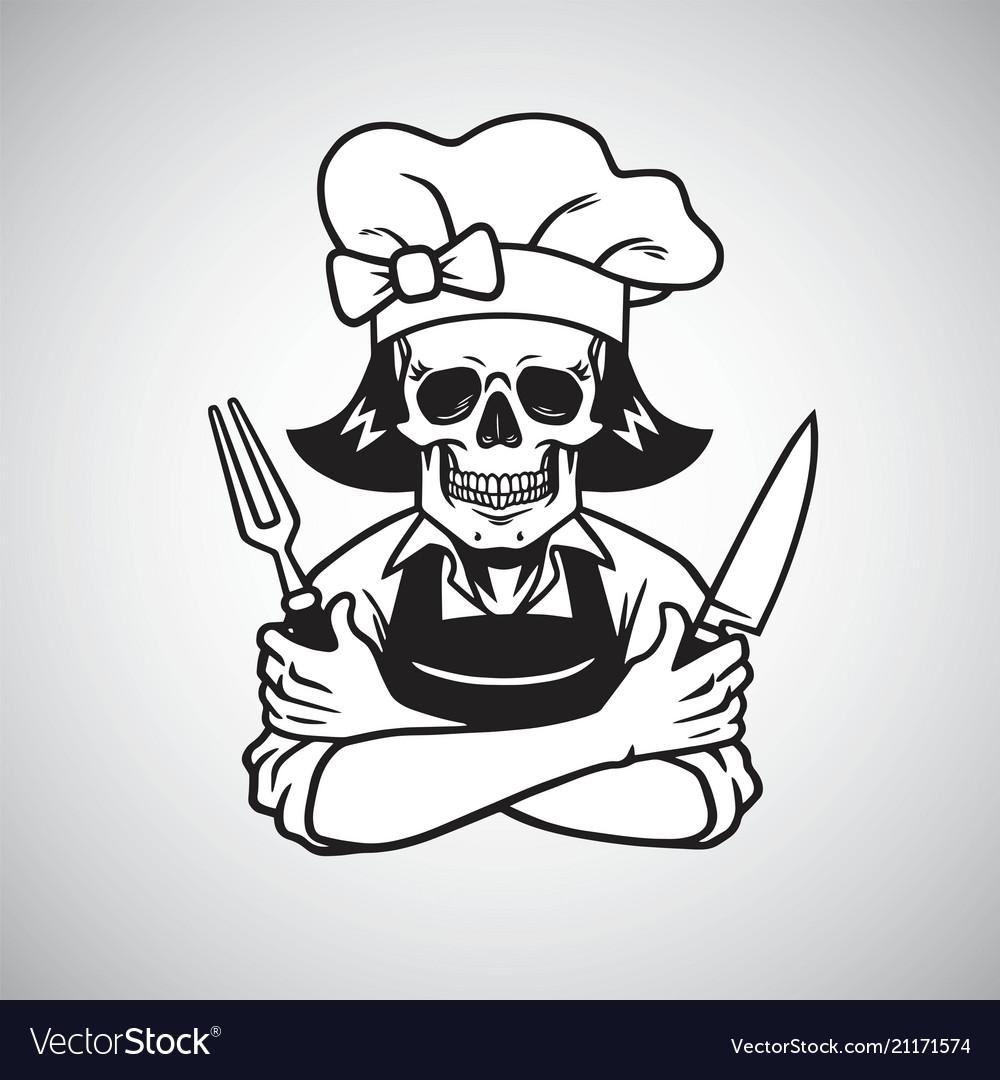 Dead lady skull chef logo grinning fork knife