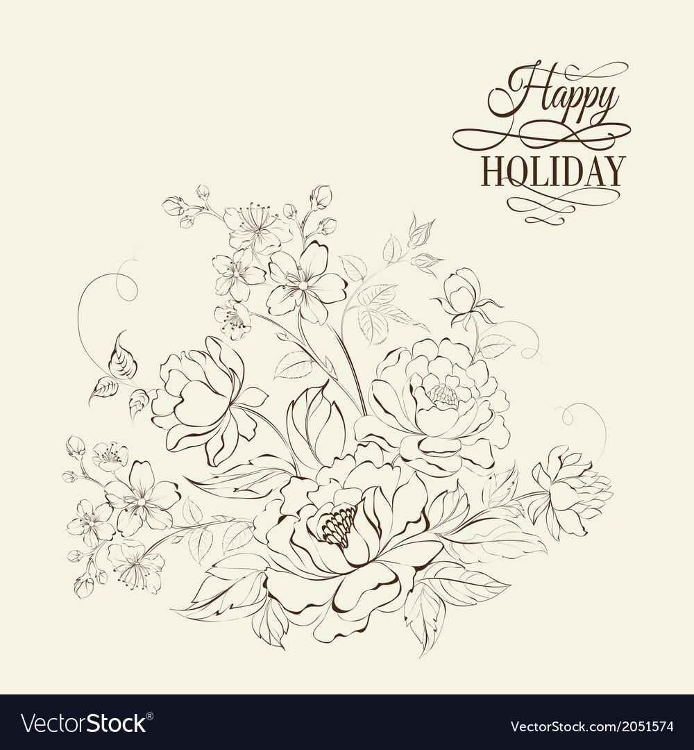 Flower bouquet of peony and sakura flowers vector image