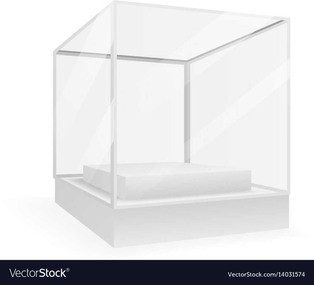 Glass isometric isolated box 3d realistic shop