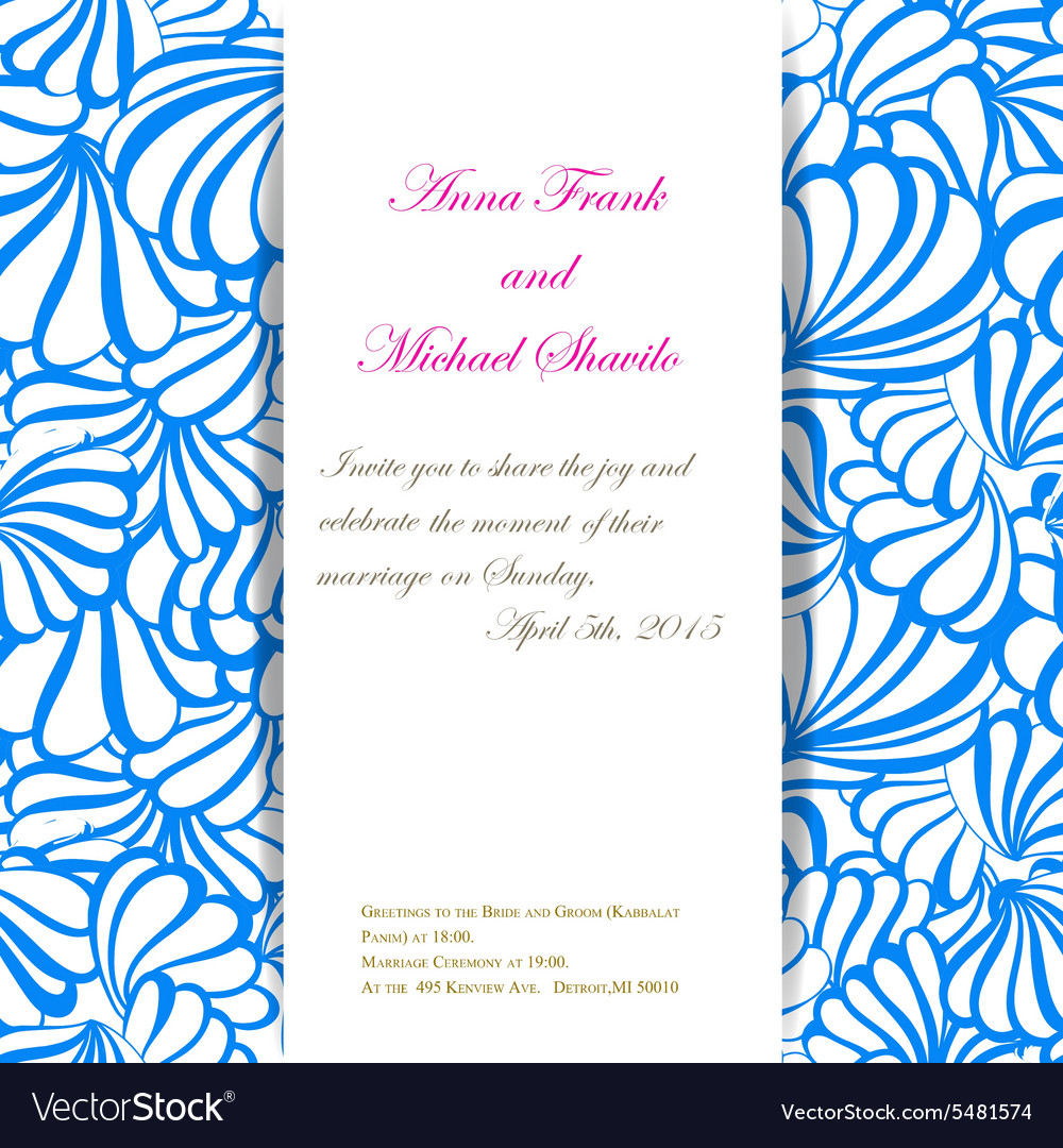 Sea Invitation Pattern For Wedding Day Royalty Free Vector