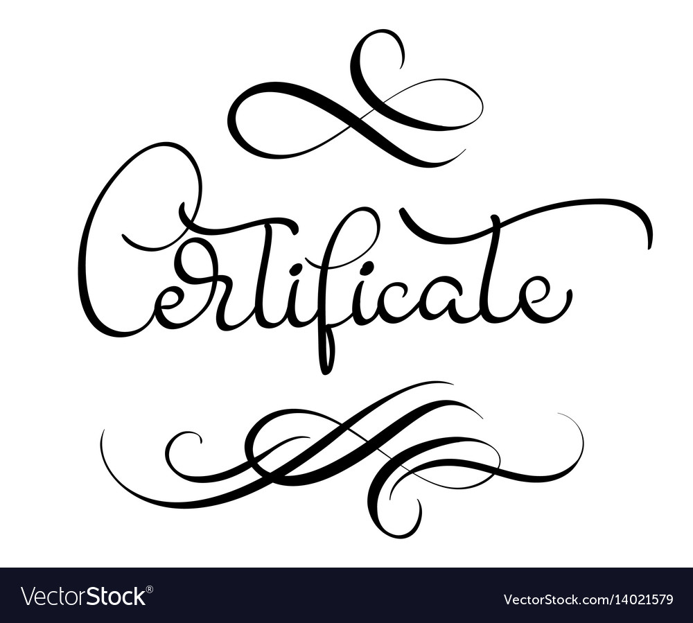 Certificate word with flourish on white background