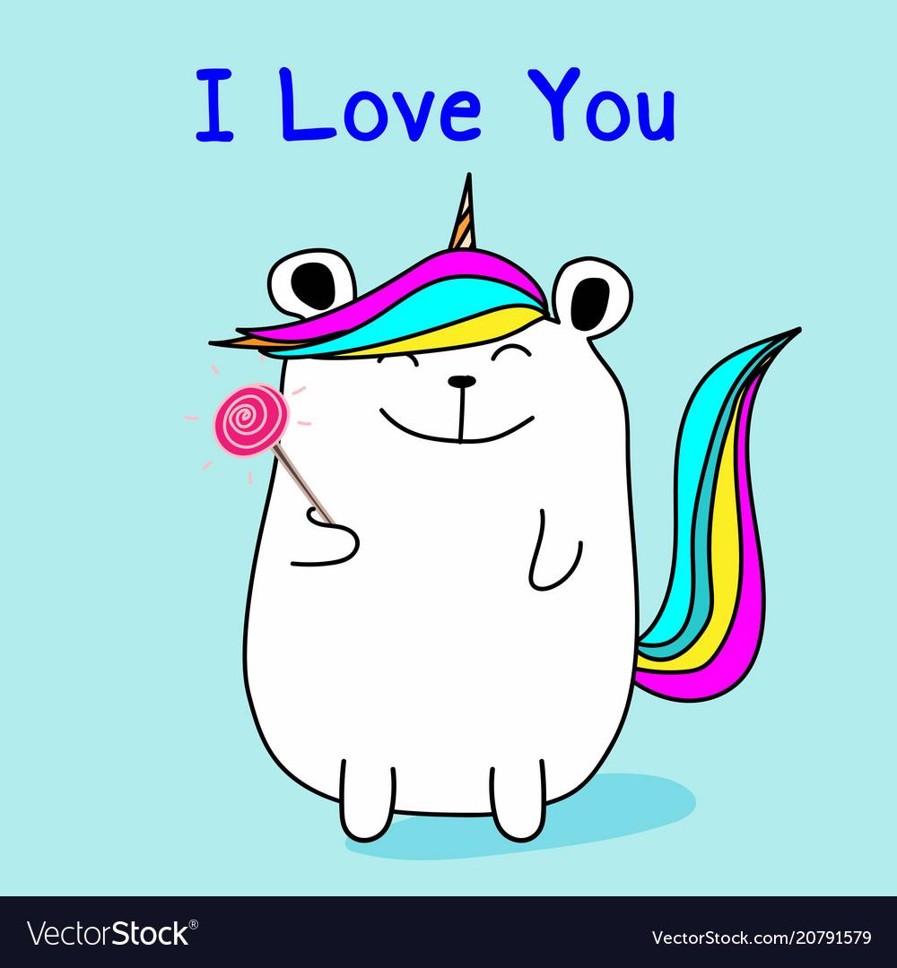Cute bear unicorn say i love you