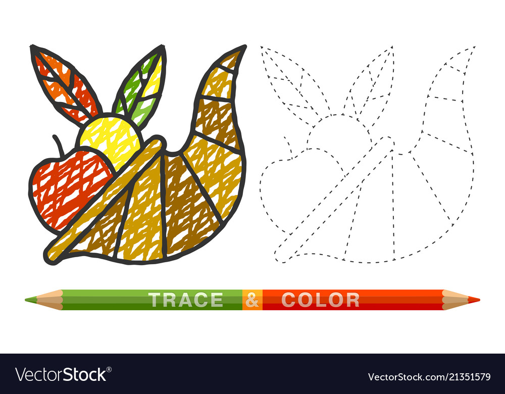 Dotted line and coloring crayon cornucopia icon