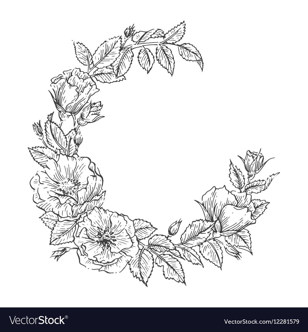 Floral handdrawn wreath