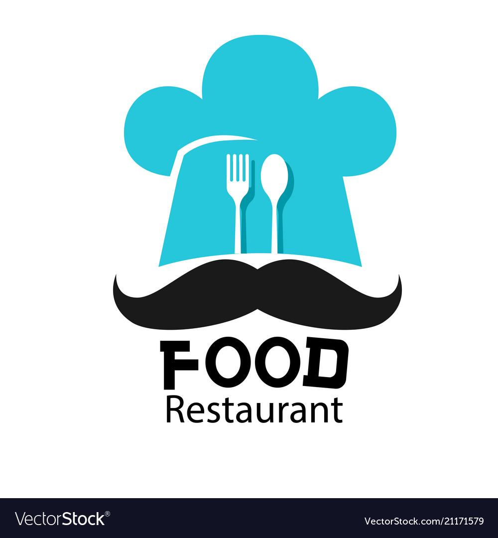 Food restaurant logo chef hat mustache background