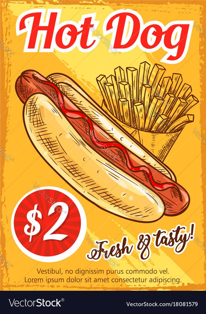 Hot dog fast food restaurant retro poster template hot dog fast food restaurant retro poster template vector image maxwellsz