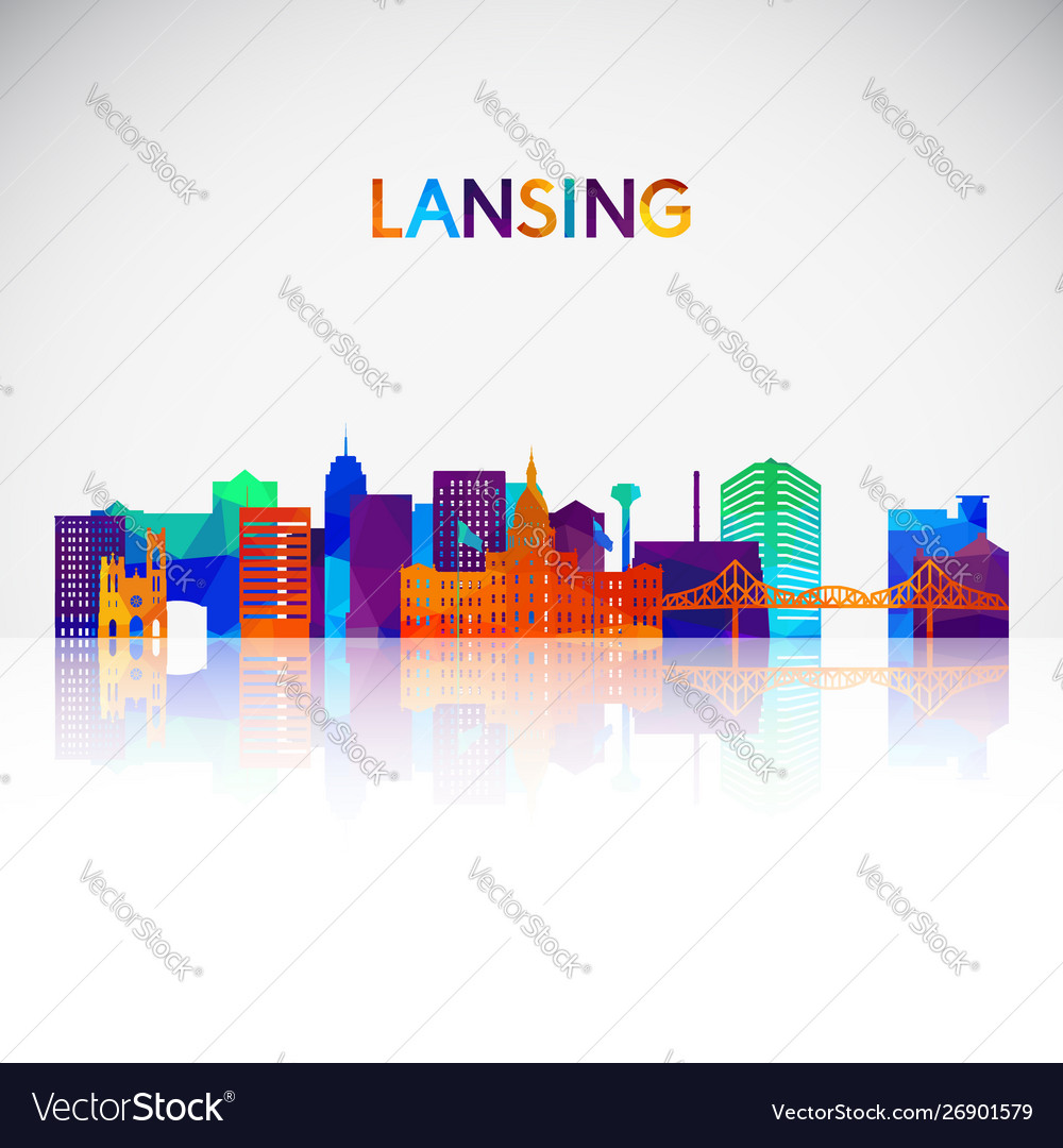 Lansing skyline silhouette in colorful geometric