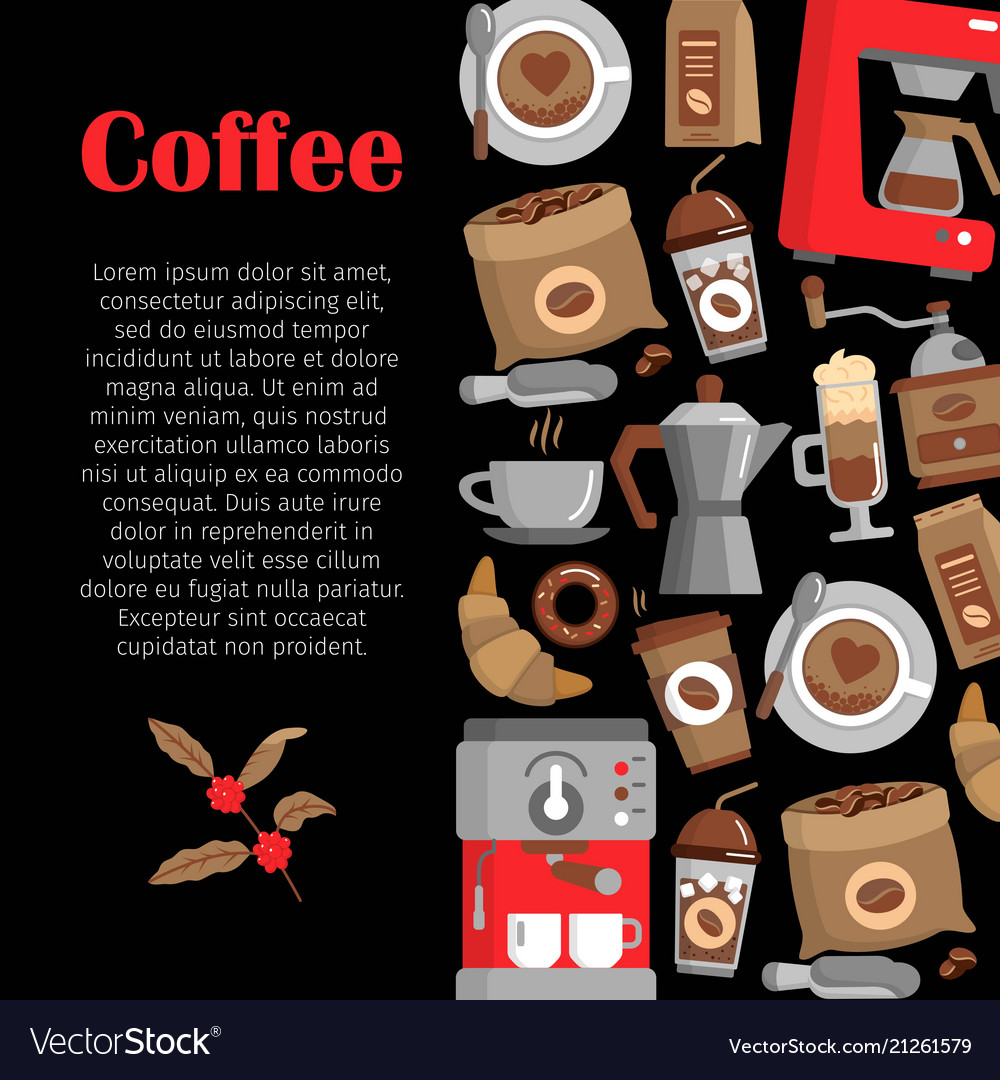 Modern poster with coffee background