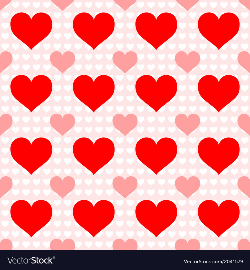 Red heart seamless wallpaper vector image