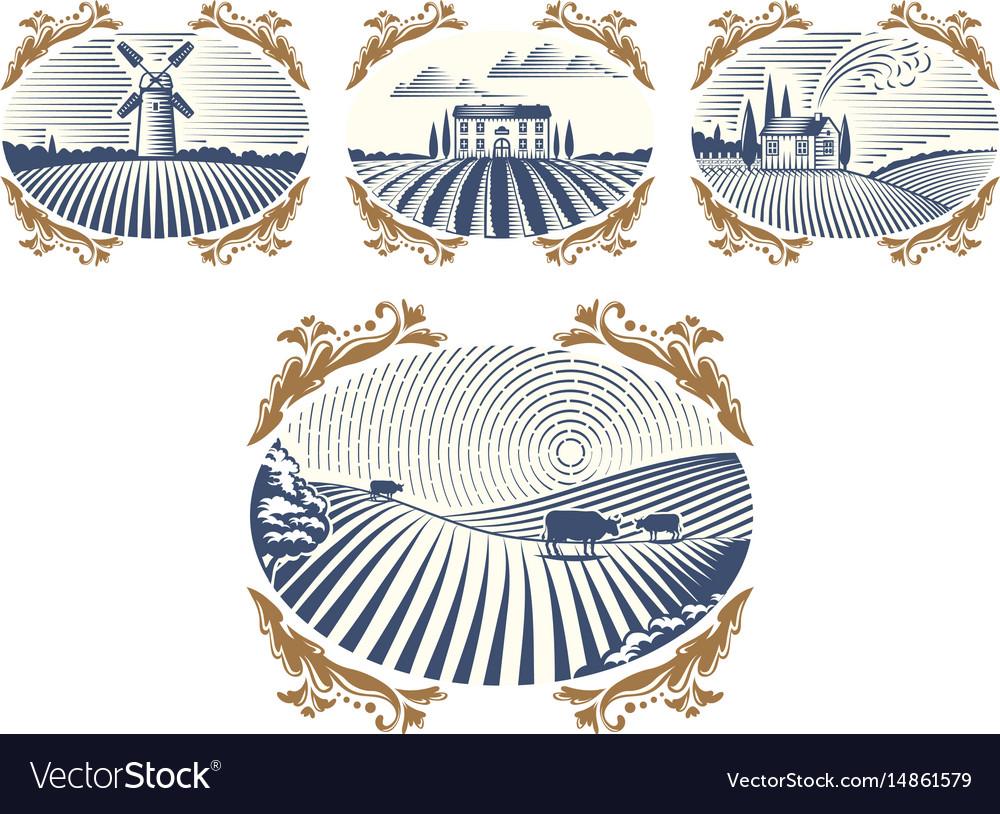 Retro landscapes farm house vector image on VectorStock