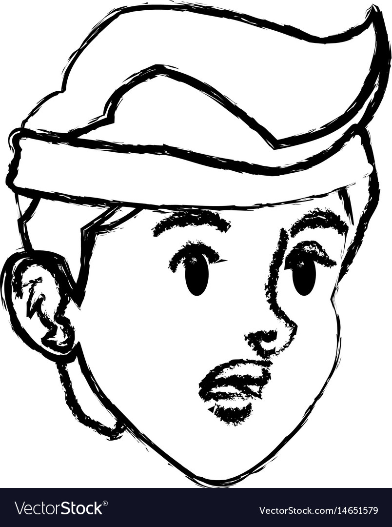 Sketch face boy sport style design