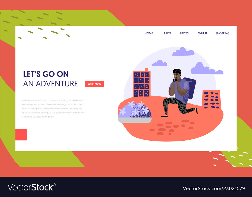 Tourism and travel landing page template people